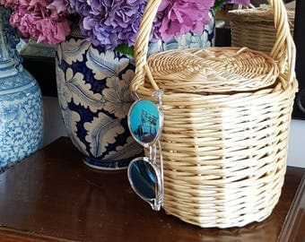Small Jane Birkin Basket with lid -  EXCELLENT WICKER - made in spain