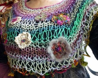 "Shoulder ""Japanese flower 6"", Japanese wool, Sari silk and mohair"