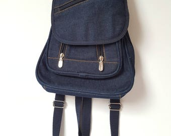 1990s Indigo Denim Small Backpack