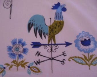 Vintage Rooster Weathervane Tablecloth. Beautiful Blues set on a Crisp White Backdrop.