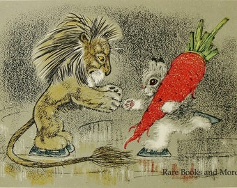 Lion Hare Congratulations Winner - Artist A. Golubev - Vintage Soviet Postcard 1966. Carrot Figure skating Winter Olympics Animals Art Print