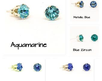 Swarovski stud earrings - Blue earrings - 6mm stones - everyday earrings- dainty earrings - sterling silver - choice of colours