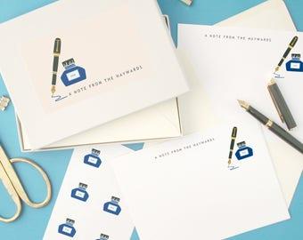 Personalised Ink & Pen Notecards Writing Set
