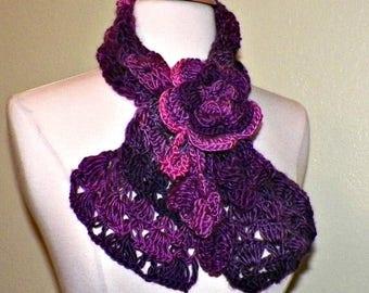 On Sale- Purple Scarf Lace Crochet With Large Irish Rose Brooch Pin Scarfette Neckwarmer Cowl Freeform