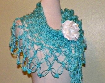 On Sale- Shawl Triangle Crochet Bright Aqua Blue Bridal  Wedding Wrap Scarf Boho Summer Wrap With Brooch