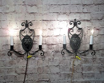 Antique Vintage Sconces Pair Black Iron Mid Century 2 Lights