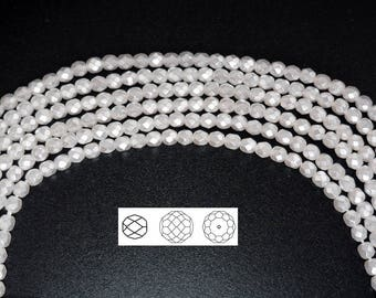 Czech Glass Fire Polished Beads in (Bridal or Snow) White Carmen Metallic Pearl, Faceted Pearls, 4mm