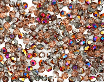 300 Crystal Sliperit coated 6mm, Preciosa Czech Fire Polished Round Faceted Glass Beads, Czech Glass Fire Polish Beads, loose, clear w/ pink