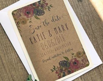 Lilac & Rose Save the Date Card with Envelope | Rustic Save the date, Floral Save the Date, Wedding Invitation, Wedding Card, Save the Dates