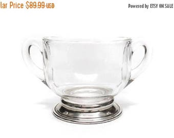 Storewide 30% Off SALE Vintage Sterling Silver Double Handle Sugar Service Bowl Featuring Elegant Crystal Glass Design