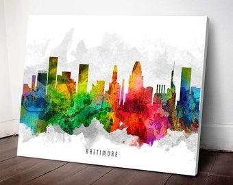 Baltimore Skyline Print,Baltimore Art, Baltimore Cityscape, Baltimore Art Print, Home Decor, Gift Idea, USMDBA12C
