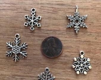 50 Silver Snowflake Pendants