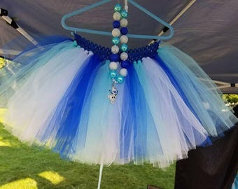 Olaf Tutu, Chunky Necklace, Tulle Tutu, Olaf, Blue, Winter, Costume, Halloween, Birthday, Party, Snow, Bling, Gift