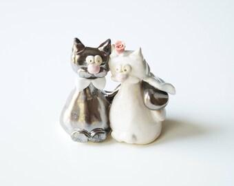 Wedding Cake Topper, Cute Cat Cake Topper, Cat Couple, Ceramic Cake Topper, Wedding Cake Decor