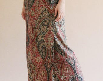 paisley print maxi wrap skirt