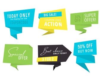 Discount Banners / Vector and PNG / Green Blue Yellow Text Labels Big Banners Text Balloons Sale Label Discount Clipart / Digital Download