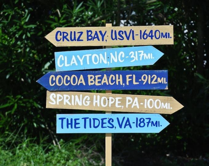 Location Wood Arrow sign. Beach House Decor. Yard/Garden rustic wood decor. Mileage Destination sign post.