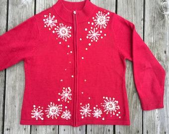 Vintage Ugly Red Embellished Christmas Sweater