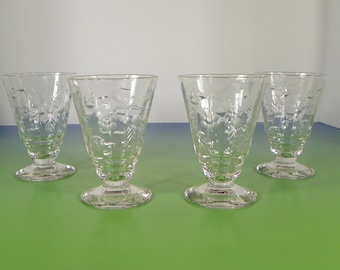 Rock Sharpe Roselle Juice Goblet (s) LOT OF 4 Stem #2006 Optic Floral Cut 1930s Crystal