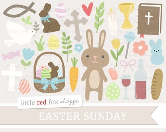 Easter Clipart, Easter Sunday Clip Art, Egg Clipart, Christian Clipart, Bunny Clipart, Cute Digital Graphic Design Small Commercial Use