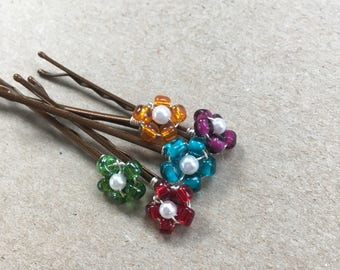 Bobby Pins, Beaded Flower Bobby Pins