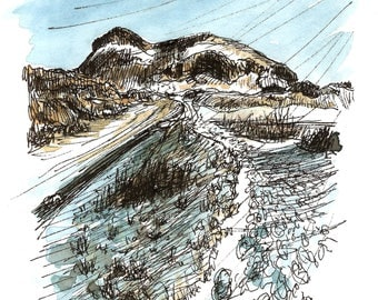 Arthur's Seat, Edinburgh in the snow. High quality print of an original ink and watercolour sketch drawn on location in 2018