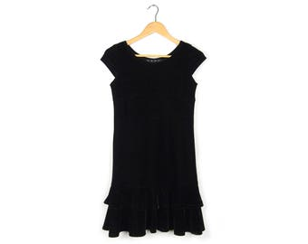 Black Velvet Flouncy Dress