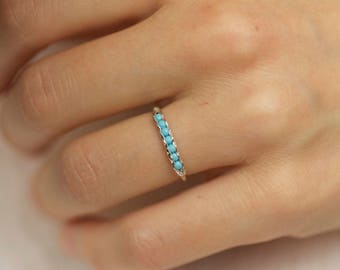 Wrapped Turquoise Ring Band Silver