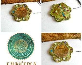 Small purse mirror, boho Indian handmade mosaic mirrors, sequins MF 05