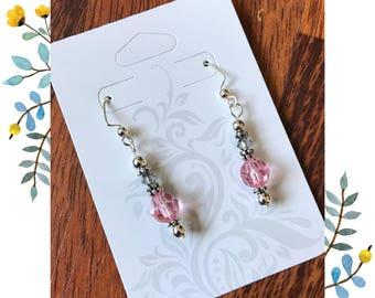 Light Rose Crystal earrings, bridesmaid earrings, Swarovski earrings, Crystal earrings