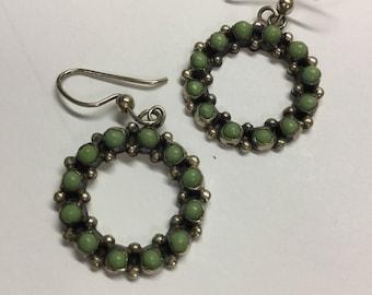 Vintage Sterling Silver Green Stone Dangle Wreath Earrings, Pierced Mexico ADF