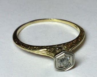 Vintage Art Deco 14k Yellow Gold Diamond Filligree Engraved Engagement or Right Hand Ring Size 6.5