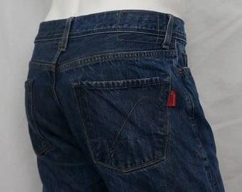 Vintage Men Guess Jeans Straight Leg Mid Rise 100% Cotton Dark Wash sz 32 X 32
