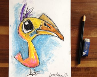 Baby Hornbill - Original A4 pastel and charcoal Drawing - gift, wildlife Cute big eyed Bird, sad Kawaii caricature, purple crested hair