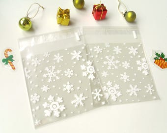 10 pockets snowflakes snow 9.8cmx10cm transparent gift bags