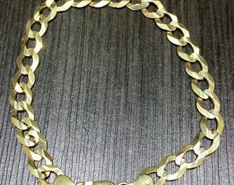 "Cuban Link 14K Men Bracelet Solid Yellow Gold 8"" 7mm"