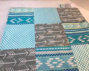 Baby Lovey Blankie [ Turquoise blue and gray with a blue bubble minky on the back