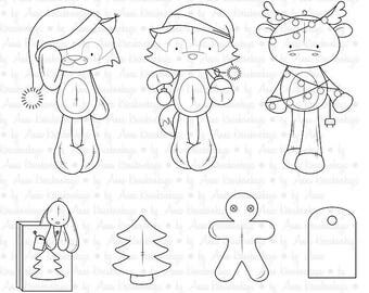 PLUSHmas - Digital Stamps with Christmas Critters