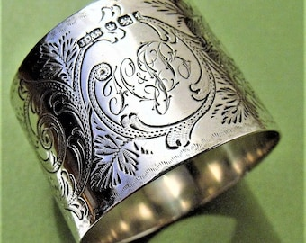 Antique Victorian Solid Silver Floral Swag Napkin Ring Hallmarked By J Dixon (6408)