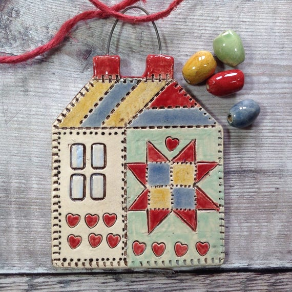 Handmade - Old Schoolhouse hanging ornament
