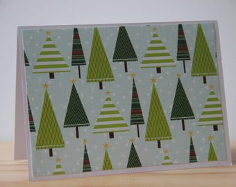 12 Christmas Tree Cards.  Winter Note Card Set.  Christmas Thank You Cards. Blank Christmas Cards. Green Christmas Tree Note Cards