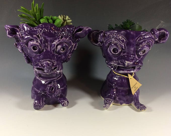 Foo Dogs // Chinese Lions // Purple // Planter // Succulent pot // Home Decor //