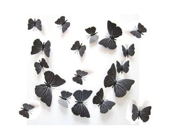 12 butterflies, 3D, black