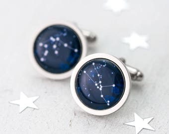 Constellation Cufflinks, Fathers Day Gift, Personalised Cufflinks, Zodiac Cufflinks, Custom Cufflinks, Groom Cufflinks, Taurus Cufflinks