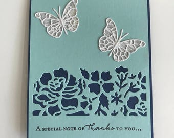 Stampin Up Floral with Butterflies Blue Elegant Thank You Card