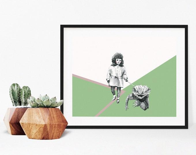 Girl walking a reptile print