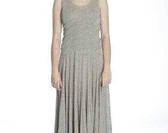 Summer long taupe linen dress, M size. Made of pure linen.