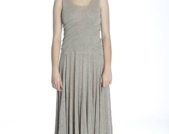 Summer long taupe linen dress, M size. Made of pure linen.