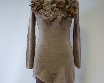 Special price. Warm soft asymmetrical cappuccino sweater with felted decoration, M size. Made of soft wool.