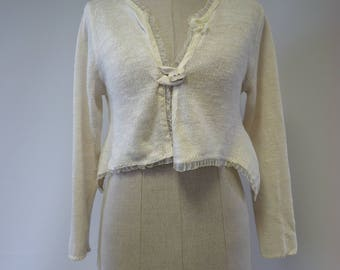 Special price. Feminine off-white linen cardigan, M size.